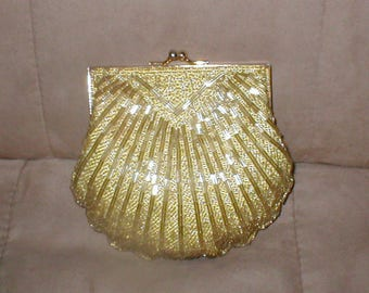 Vintage Gold Beaded Clamshell Evening Purse