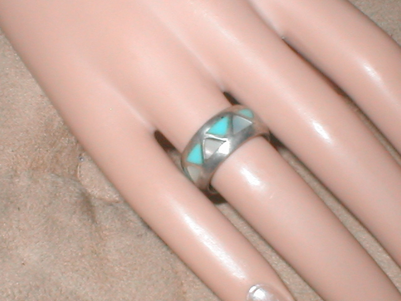Vintage American Indian Turquoise Sterling Band Ring | Etsy