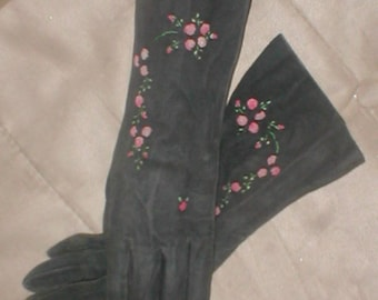 RARE Vintage 1930's SUEDE Dress Gloves with Embroidery