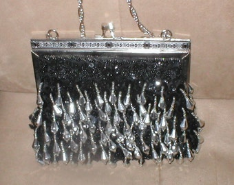 Vintage Black & Silver Beaded Evening Purse