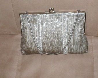 Vintage 1940's SILVER Beaded Evening Purse
