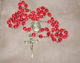 Vintage 1970's Red and Gold Rosary