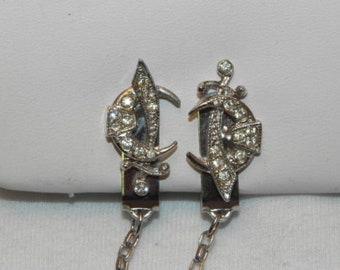 Vintage  Rhinestone Masonic Shriner Sweater Guard Clip Chain
