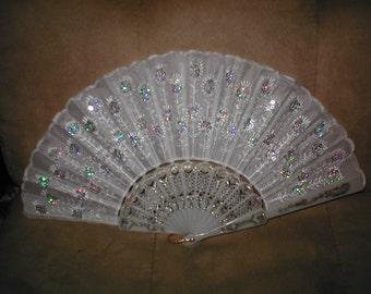 Vintage Beaded IVORY Folding Fan