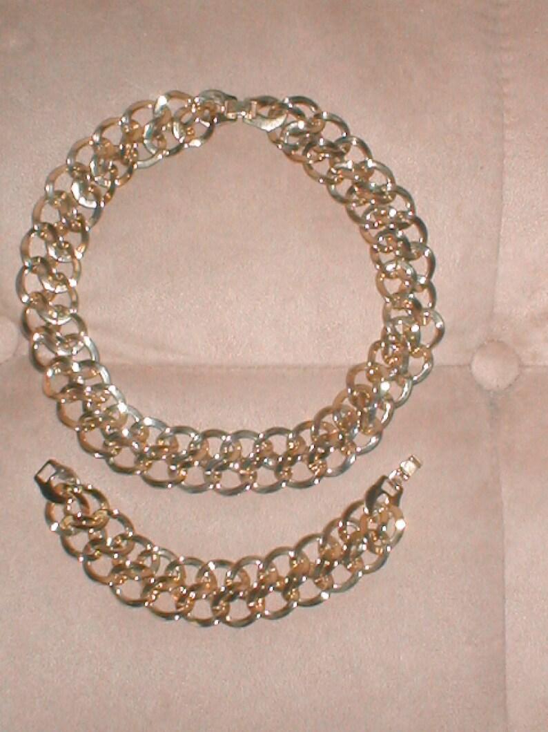 Vintage MONET Gold double-link Chain Necklace and Bracelet Set