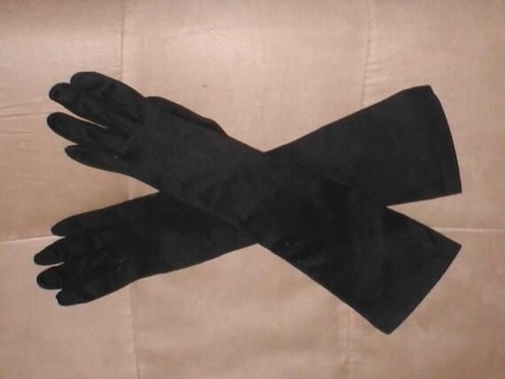Vintage 1940s Long Black Cotton Dress Gloves Etsy