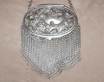Antique  Silver Chainmail Mesh Purse
