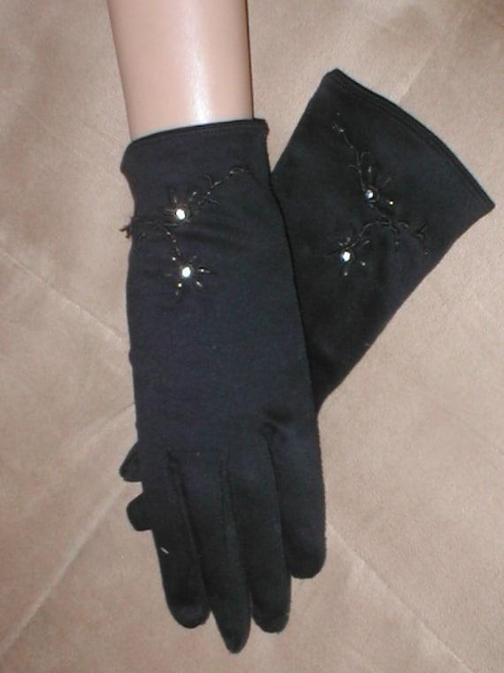 Vintage 1940s Beaded Black Cotton Dress Gloves Etsy