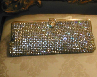 Vintage Solid prong-set Rhinestone Evening Purse by WALBORG