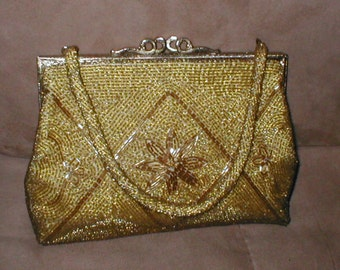 Vintage Gold Beaded Evening Purse