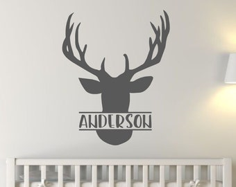 Hunting Bedroom Decor Hunter Decal Boys Name with Antlers Wall Stickers Antlers /& Name Decal Set