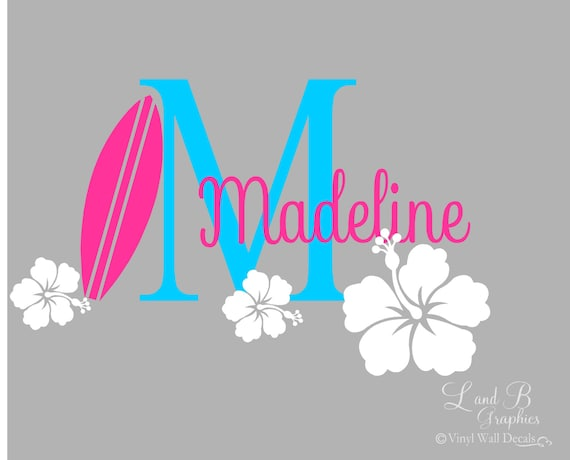 Surf Wall Decal Surfboard Hibiscus Flower Initial With Name Etsy