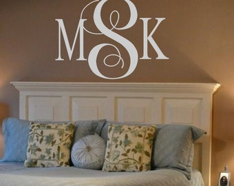 Personalized Monogram Initials Vinyl Wall Decal Lettering Decor Words for your wall  Quotes for the wall