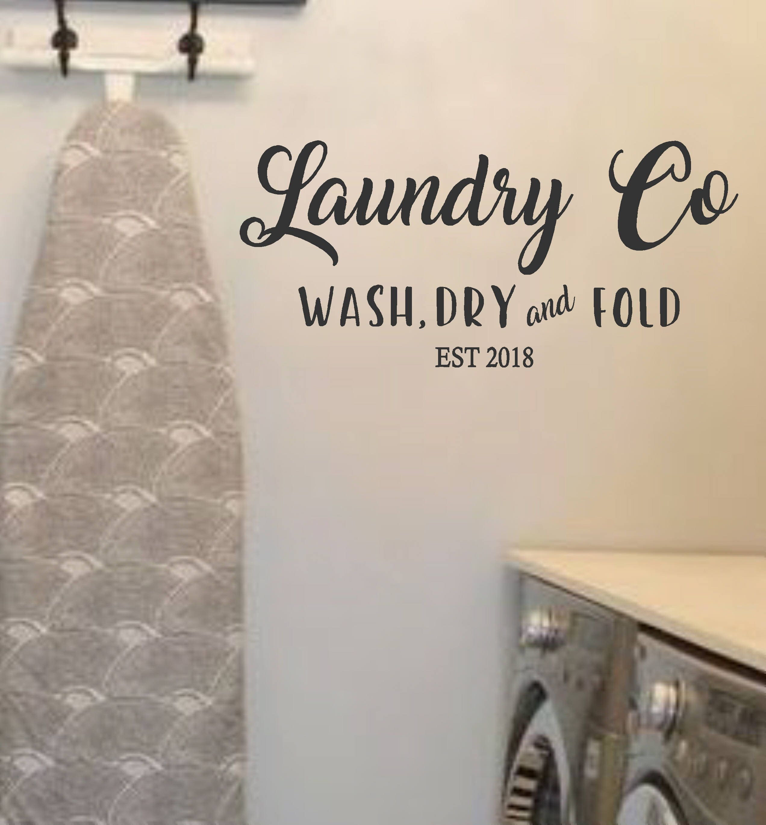 Laundry Room Vinyl Wall Decal Laundry Co Wash Dry Fold With Etsy