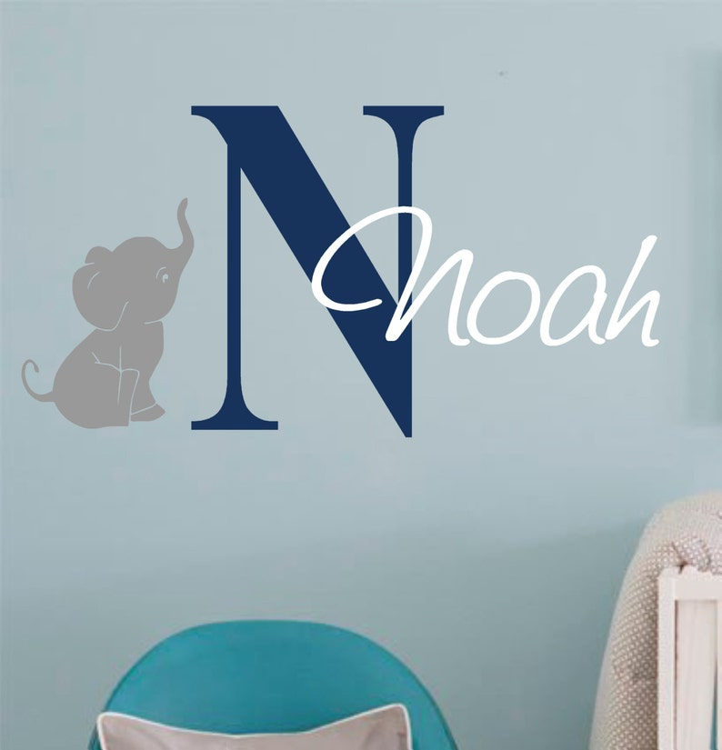 vinyl wall decal custom name with initial and elephant girl | etsy
