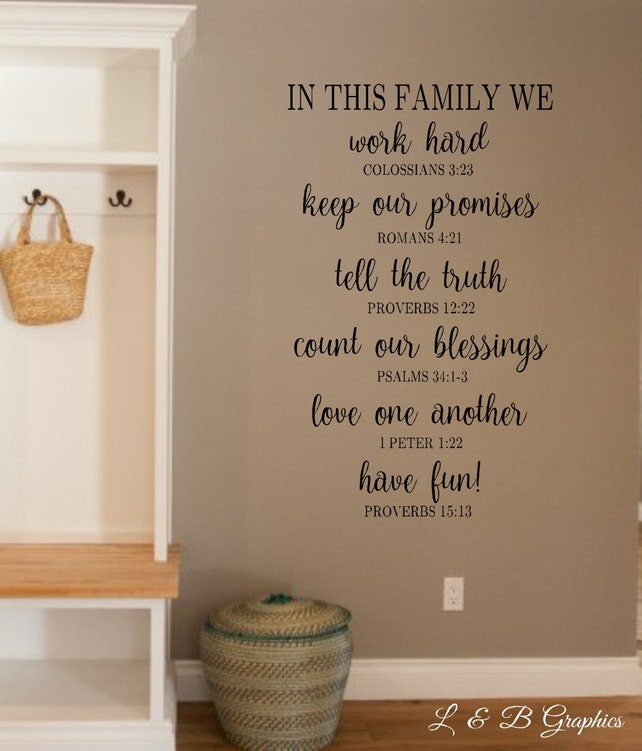 In this family we Bible Verse-Vinyl Wall Decal Christian | Etsy
