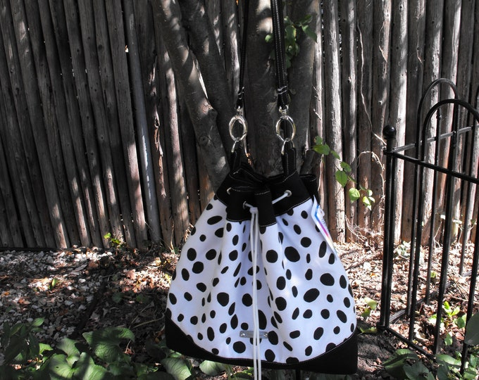 Black Spots On White Drawstring Bucket Bag