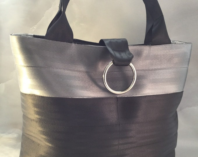 Handmade Silver And Black Block Seat Belt Bag/Tote