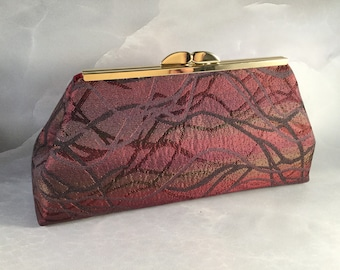 Red Gold & Black Medium Clutch Bag