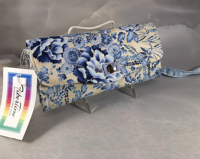 Blue and Tan Floral Handmade Clutch/Wallet