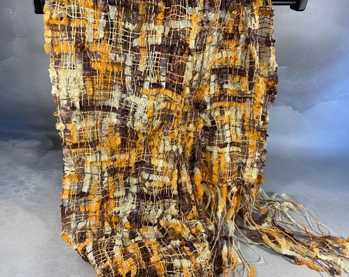Handwoven Ixia Art Yarn Brown Yellow Cream Metallic Nylon Flag Yarn Scarf