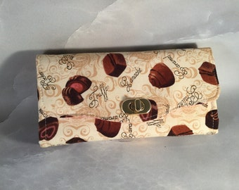 Zero Calorie Chocolate Candies Clutch Wallet With Wrist Strap