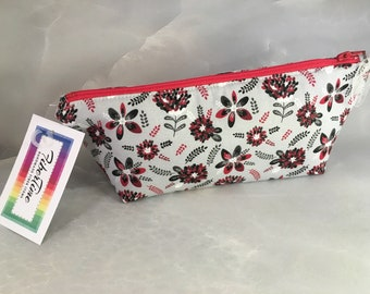 Red Black and White Floral On Gray Makeup Bag