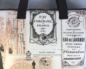 French Fragrances Large Top Zip Handmade Tote Bag - LAST ONE!