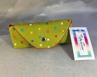 Primary Dots on Green Handmade Eyeglass/Sunglass Case