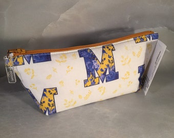 "University of Michigan ""M"" Blue with Yellow Flowers Make Up Bag"