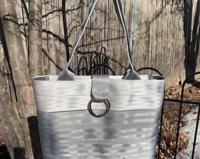 Handmade Silver And Gray 2 Block Seat Belt Bag/Tote