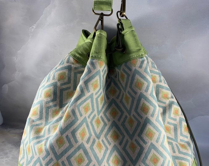 Beige Blue and Orange Geometric Drawstring Bucket Bag - ONE OF A KIND!