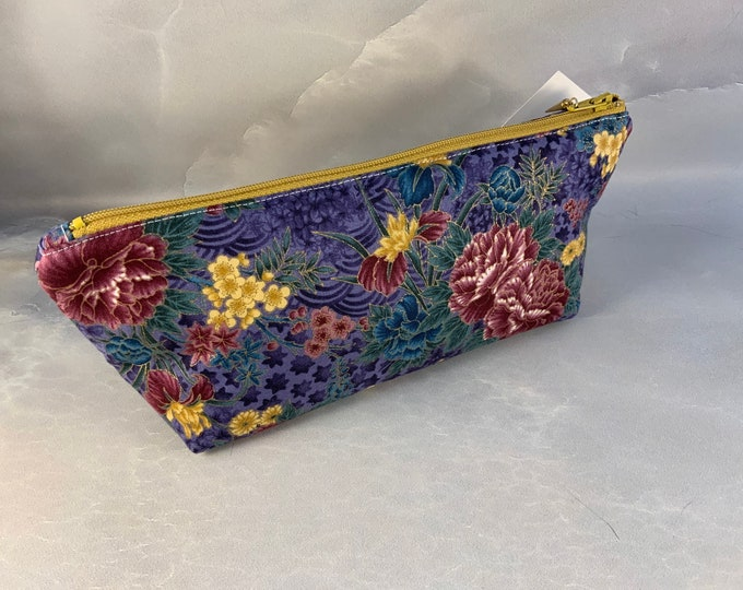 Blue Burgundy and Gold Floral Makeup Bag