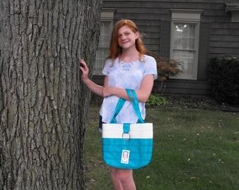 Handmade Medium White/Dk Teal Block Seat Belt Bag/Tote