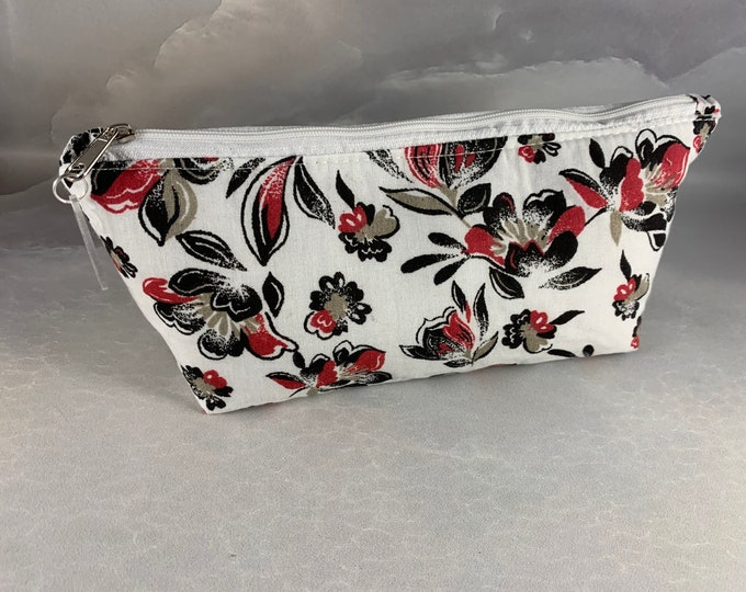 Black Red Taupe Floral Triangle Pouch