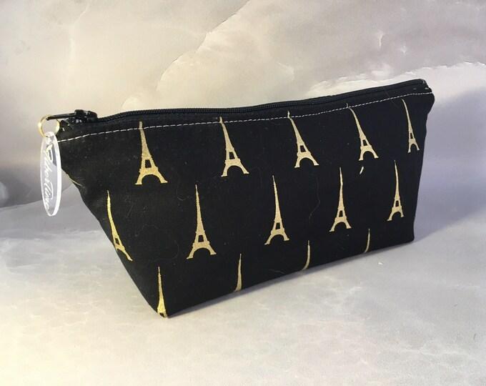 Gold Eiffel Tower On Black Handmade MakeUp Bag