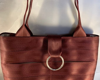 Limited Edition!  Handcrafted Medium Maroon Seat Belt Bag/Tote