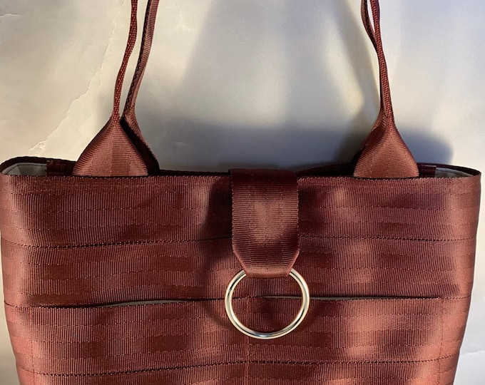 Limited Edition!  Handcrafted Maroon Seat Belt Bag/Tote