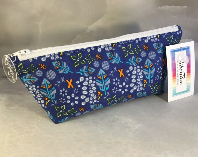 Feathers and Stones on Navy Handcrafted Makeup Bag