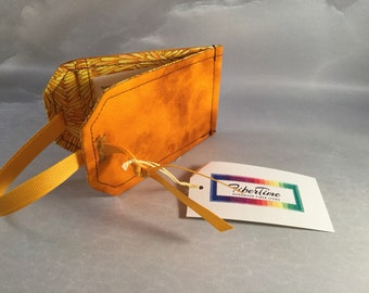 Handmade Yellow/Orange Batik Luggage Tag