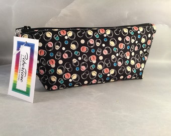 Multi Colored Circles on Black Handcrafted Triangle Pouch