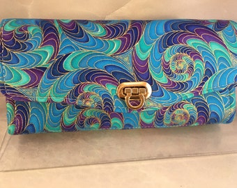 Purple Blue Aqua and Gold Swirl Handmade Clutch/Wallet With Wrist Strap