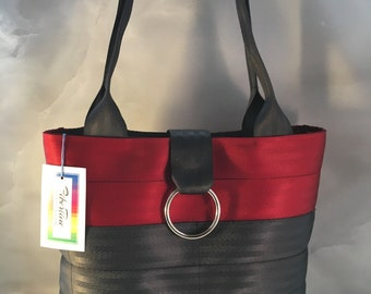 Handmade Red And Black Block Seat Belt Bag/Tote