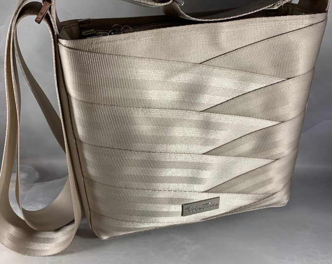 New Color!  Silvery Gold Roundabout Crossbody Seat Belt Bag