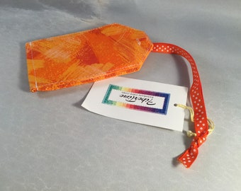 Handmade Orange and Yellow Brush Strokes Luggage Tag