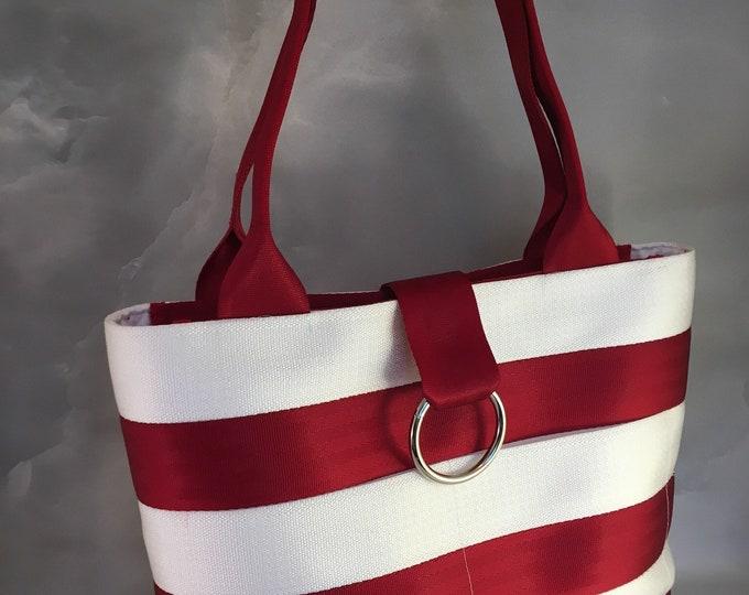Handmade Medium Cherry Red and White Stripe Seat Belt Bag/Tote