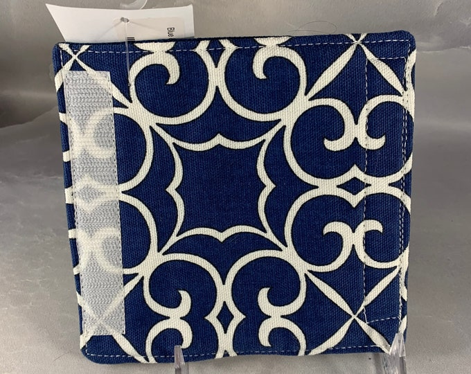 Blue and White Geometric Print Luggage Handle Wrap