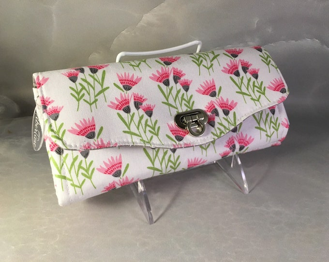 Handmade Pink and Gray Stylized Floral Clutch/Wallet With Wrist Strap