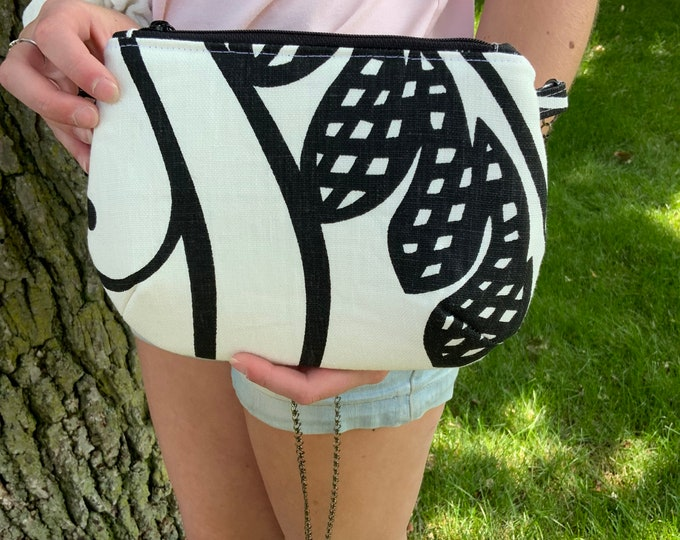 One Of A Kind!  White on Black Graphic Crossbody Bag
