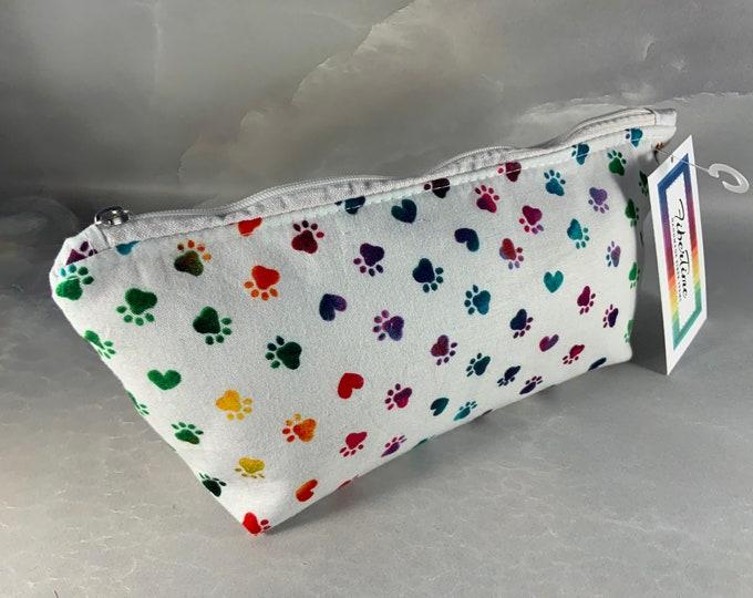 Colorful Paw Prints on White MakeUp Bag